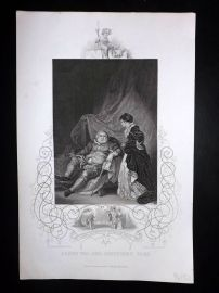 Gaspey C1860 Antique Print. Henry VIII and Catherine Parr